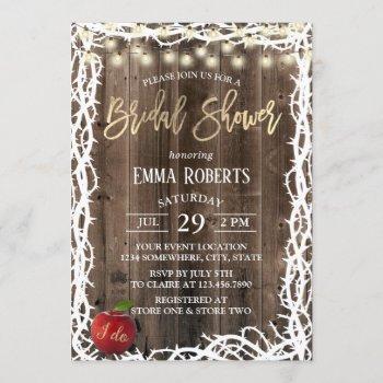 rustic fairy tale thorn frame wood bridal shower invitation