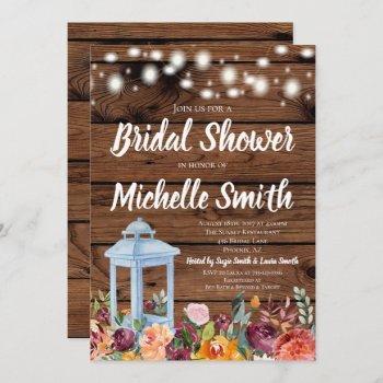 rustic fall autumn floral lantern bridal shower invitation