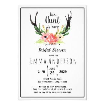 rustic floral boho hunt is over bridal shower invitation