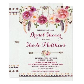 rustic floral boho invitation bridal shower invite