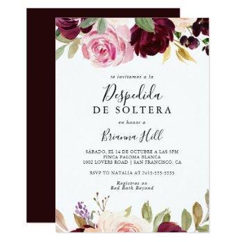 rustic floral botanical spanish bridal shower invitation
