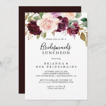 rustic floral bridesmaids luncheon shower invitation