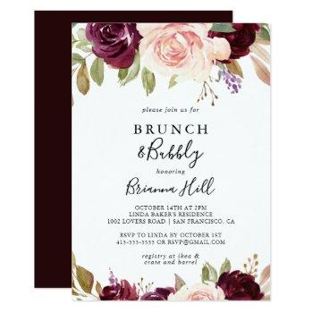 rustic floral brunch and bubbly bridal shower invitation