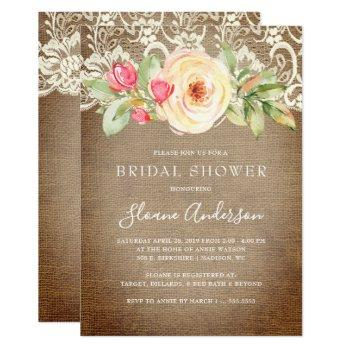 rustic floral burlap and lace bridal shower invitation