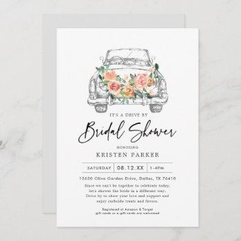 rustic floral drive-by bridal shower invitation
