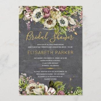 rustic floral grey chalkboard fall bridal shower invitation