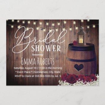 rustic floral lantern wine barrel bridal shower invitation