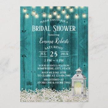 rustic flowers & lantern teal barn bridal shower invitation