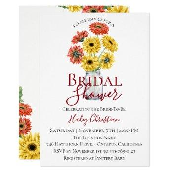 rustic gerber floral bridal shower invitation