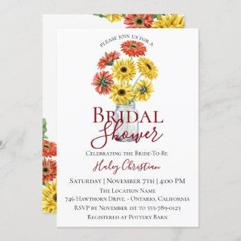 rustic gerber floral bridal shower invitation