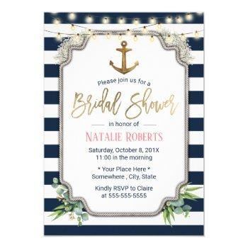 rustic gold anchor nautical bridal shower invitation