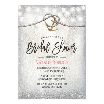 rustic gold anchor & rope elegant bridal shower invitation