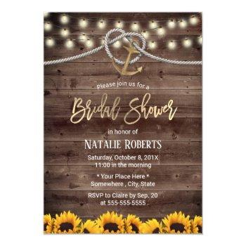 rustic gold anchor & rope sunflowers bridal shower invitation