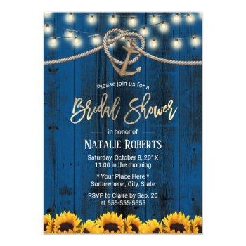 rustic gold anchor sunflowers navy bridal shower invitation