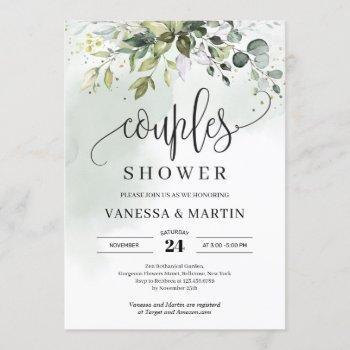 rustic greenery foliage eucalyptus couples shower invitation