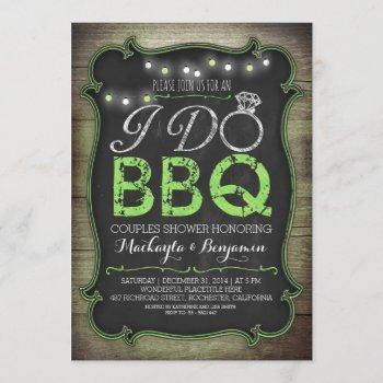rustic i do bbq couples shower invitation - green