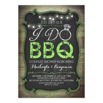 rustic i do bbq couples shower invitation - green