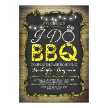 rustic i do bbq couples shower invitation - yellow
