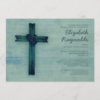 rustic iron cross bridal shower invitations