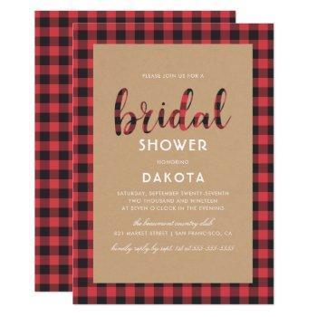 rustic kraft & buffalo plaid script bridal shower invitation