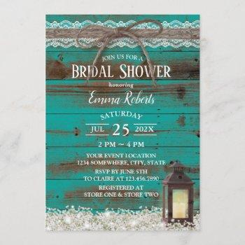 rustic lace teal barn lantern bridal shower invitation
