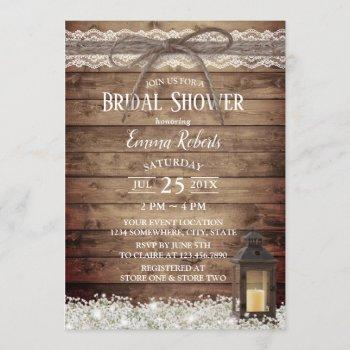 rustic lace & twine vintage lantern bridal shower invitation