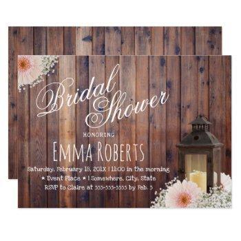 rustic lantern & daisy floral barn bridal shower invitation