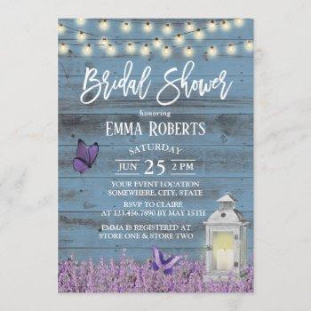 rustic lantern lavender flowers blue bridal shower invitation
