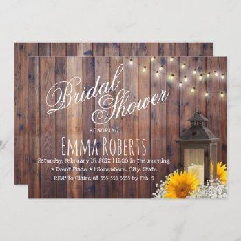 rustic lantern & sunflower floral bridal shower invitation
