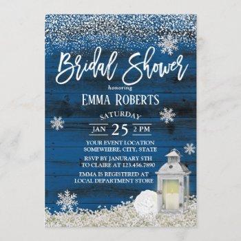 rustic lantern winter snowflake navy bridal shower invitation