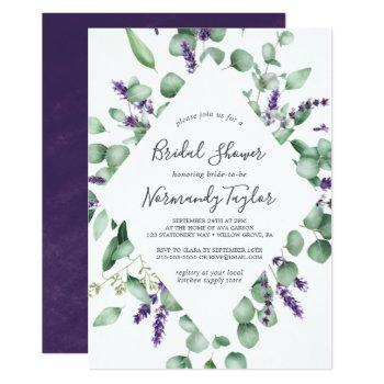rustic lavender and eucalyptus bridal shower invitation