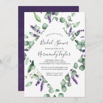 rustic lavender and eucalyptus bridal shower invitation
