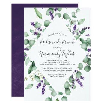 rustic lavender and eucalyptus bridesmaids brunch invitation