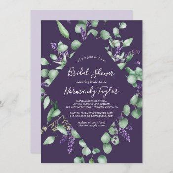 rustic lavender & eucalyptus purple bridal shower invitation