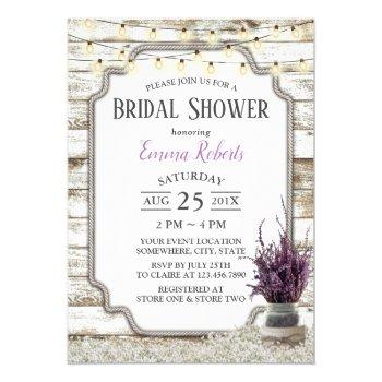 rustic lavender floral jar barn bridal shower invitation