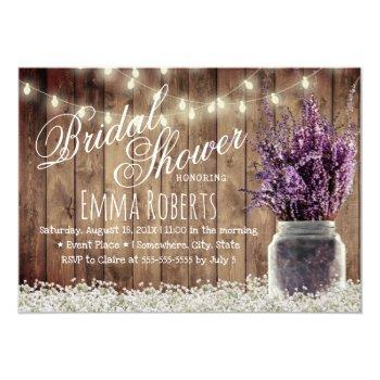 rustic lavender floral mason jar bridal shower invitation