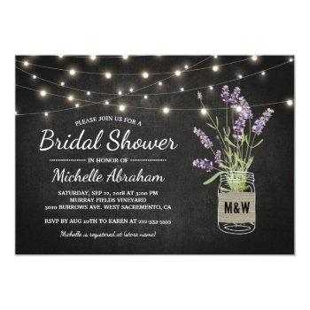 rustic lavender mason jar lights bridal shower invitation