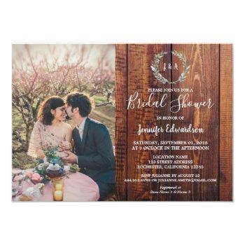 rustic leaves on wood monogram photo bridal shower invitation