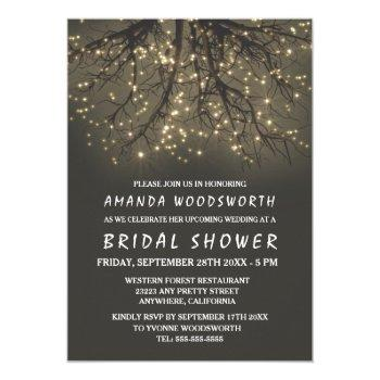 rustic lighted tree bridal shower invitations
