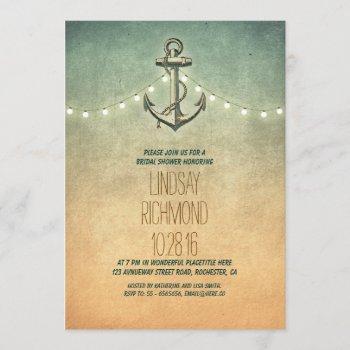 rustic lights nautical bridal shower invitation