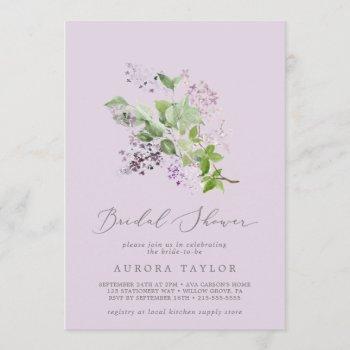 rustic lilac | lavender bridal shower invitation