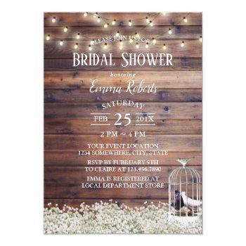 rustic love birds cage string lights bridal shower invitation