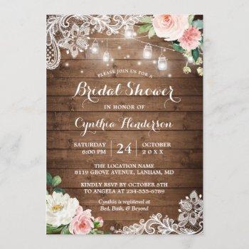 rustic mason jar lights lace floral bridal shower invitation