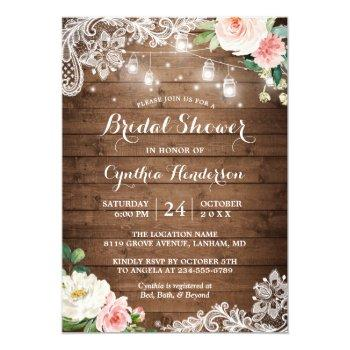rustic mason jar lights lace floral bridal shower invitation