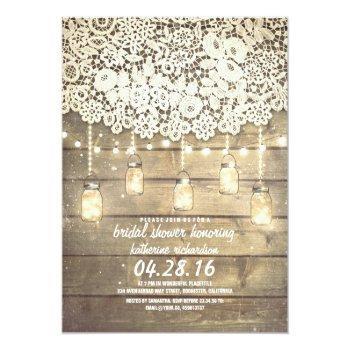 rustic mason jar lights lace wood bridal shower invitation