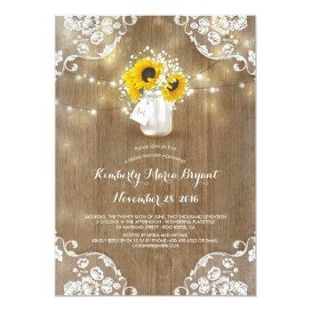 rustic mason jar sunflower bridal shower invitation