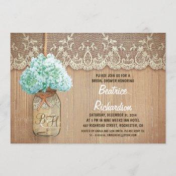 rustic mason jar turquoise hydrangea bridal shower invitation