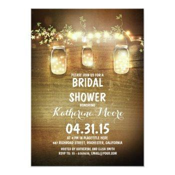 rustic mason jars and lights bridal shower invitation