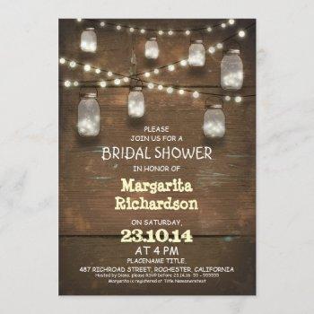rustic mason jars with lights bridal shower invite