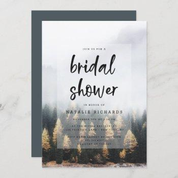 rustic mountain pine trees fall bridal shower invitation